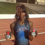 Alexis Browner with her two silver medals from the NorCal finals.
