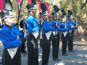 Setting the marching block before competition.