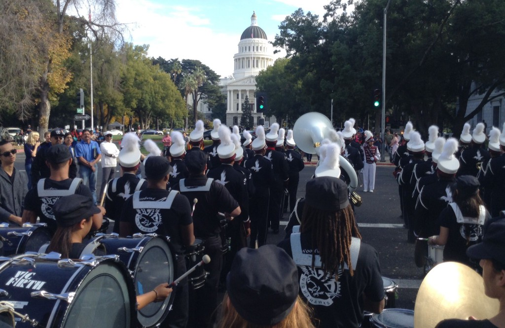Natomas High School marching band with state Capitol in the foreground.