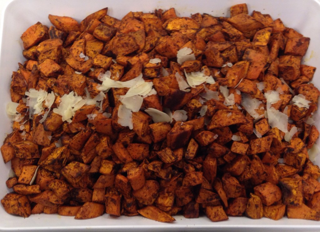 Sweet potatoes tossed in authentic mole.