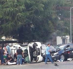 Multi vehicle accident at intersection of San Juan and Truxel roads. / Photo by Cat Dawson