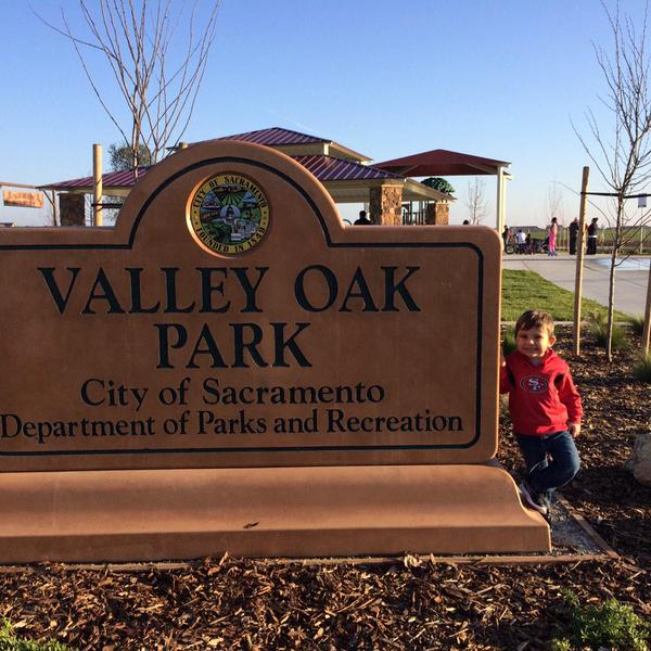 An excited park goer checks out the recently opened Valley Oak Park. / Photo: April Woodcheke