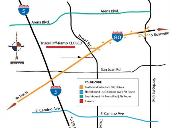 Detour map for planned 21-day closure of Truxel off ramp in Natomas.