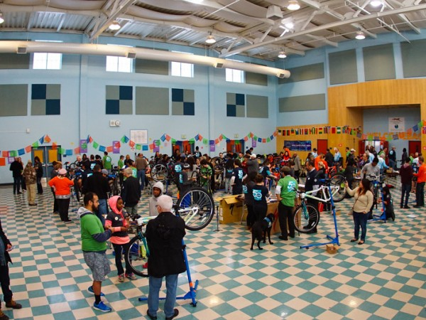 More than 200 volunteers helped build 50 bikes for 50 kids on Martin Luther King Jr. Day last week in Natomas. / Photo: Derek Novaes