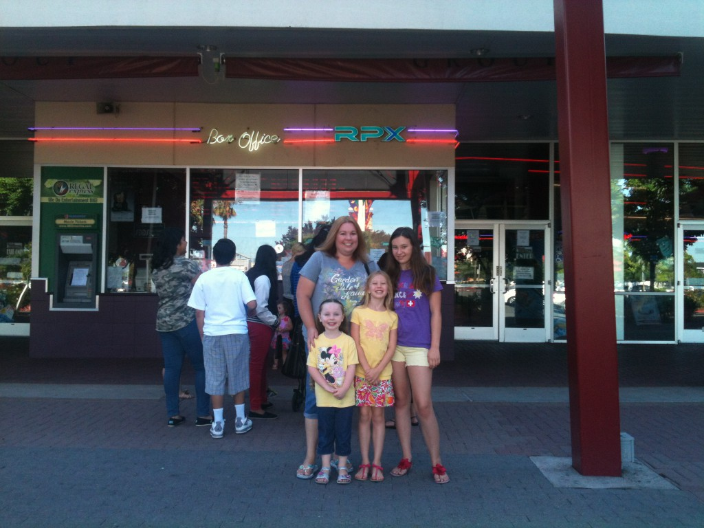 "Leeanna Hallett, and her children Annabel, 5, Kinsey,8, and Alina, 13, recently saw ""Rio"" at the Regal Summer Series in Natomas. / Photo by Ojaswi Adhikari"