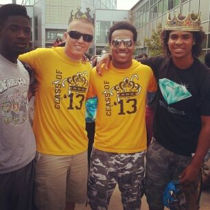 Dylan is second from left with Kevin Blueford also in the yellow. CJ Spencer has the crown on and senior-to-be Larry Hardy on the left Hardy, Dylan, Blueford, Spencer