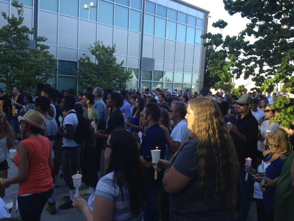 Mourners gather at the vigil to remember Dylan Akins.