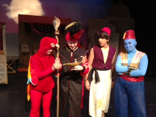 From left to right, Jenna Karoly as Iago, Arianna Ruvalcaba as Jafar, Devin DeGeyter as Aladdin and Sarah Green as the Genie.