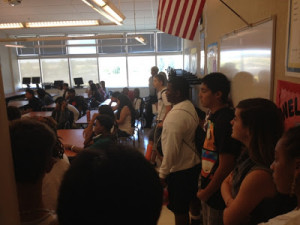 """A standing-room only group of students and parents filled room G224 at Inderkum High School Monday morning, July 9 for the first day of """"Algebra Boot Camp - See more at: https://www.natomasbuzz.com/2012/07/freshmen-attend-algebra-boot-camp/#sthash.vremmzvw.dpuf"""