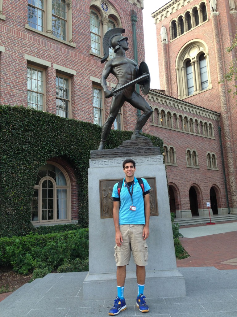 Sam Dhillon in front of The Trojan Shrine at USC. / Courtesy Photo