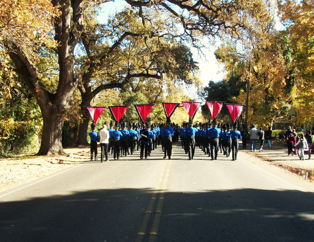 Marching down the street for a practice run-through.