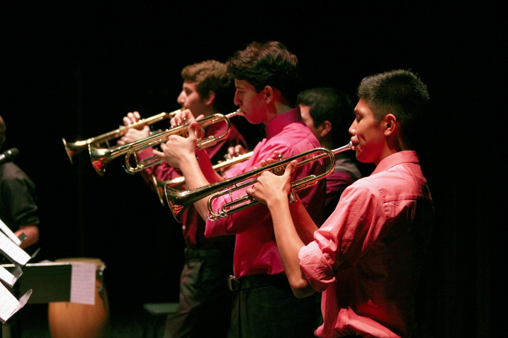 """Trumpeters from the PFAA Show Band performing in """"Jazz at the Ben,"""" October 18, 2013. From front to back: Aidan Ordona, Gino Videche, and Jonathan Cata."""