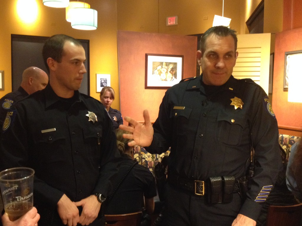 Sacramento Police Lt. Charles Husted meets with members of the Natomas community during a community call box event held at Panera in Natomas.