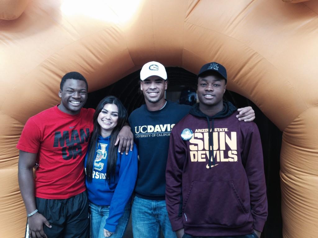 Football teammates headed to college Tyler Dean, Hailey Maxwell, CJ Spencer and Jordan Thomas.