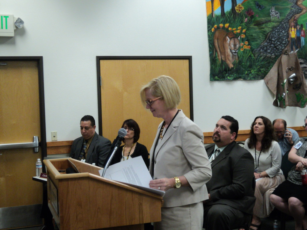 Principal Marnie Lynch addresses the Natomas Unified school board Wednesday night. / Photo: E. Sanchez