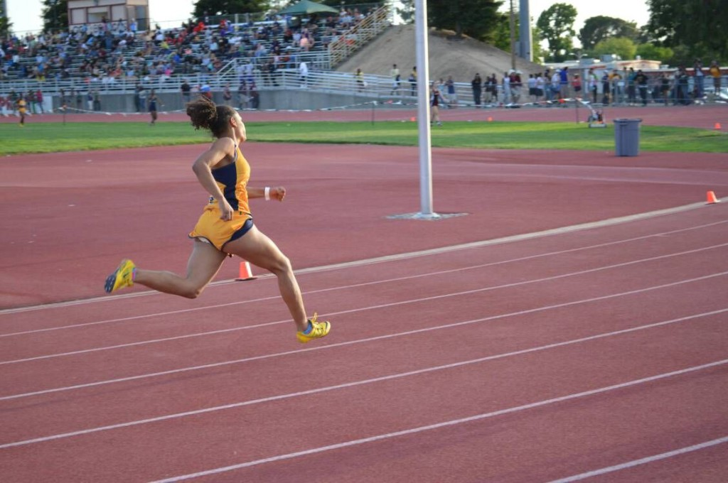 Inderkum High School senior Mariah Burke competing in the 400-meter dash at the Sac-Joaquin Section Division II/III championships at Bella Vista High School in Fair Oaks on May 23. / Courtesy Photo