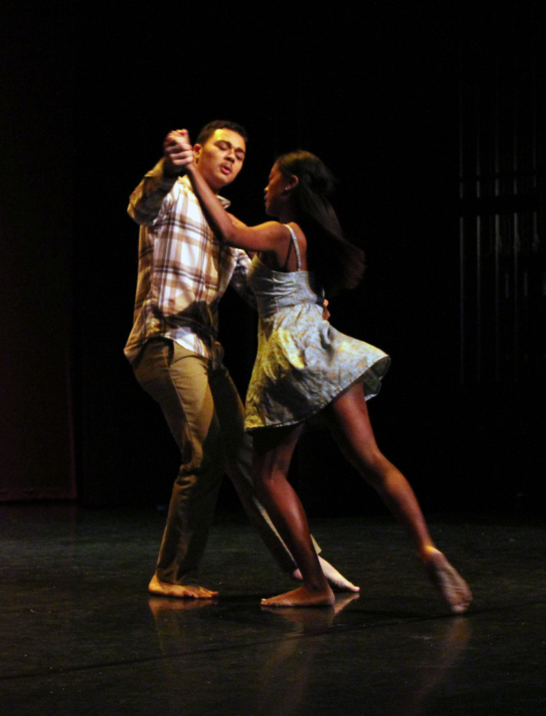 Natomas Charter students James Little and Maya Gorman perform a dance as part of the award ceremony.