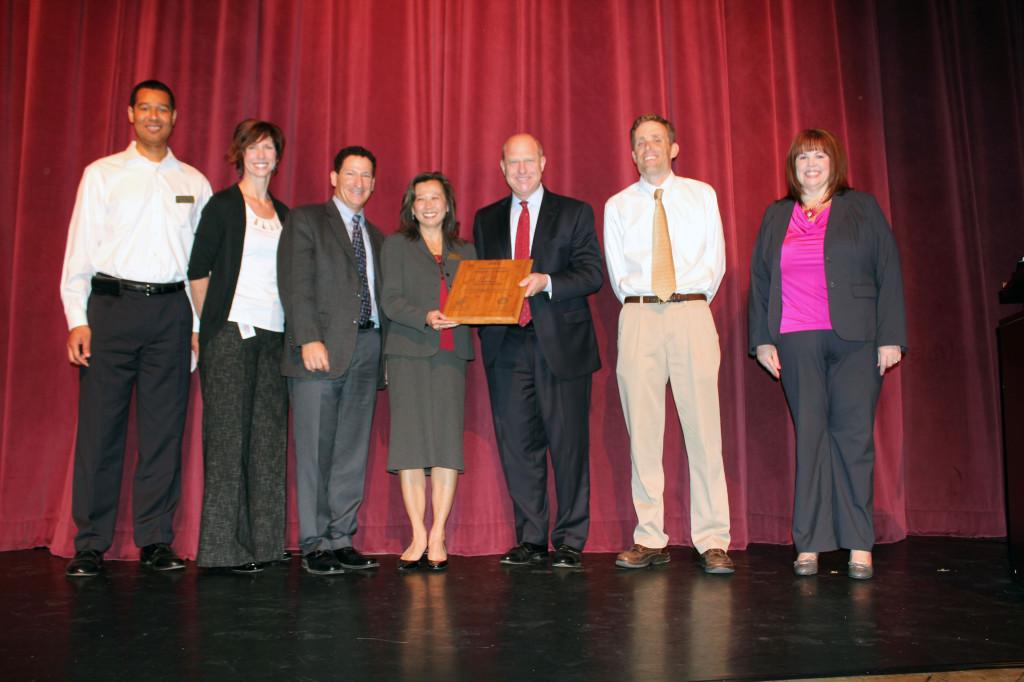 Natomas Charter leaders celebrate Civic Learning Award of Merit.