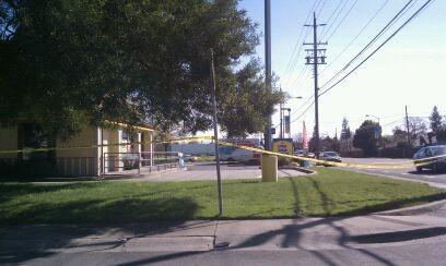 The crime scene outside American Spirit bar on March 12, 2011.
