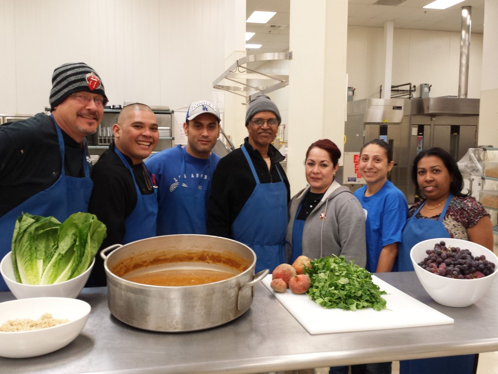 Natomas Unified kitchen staff (L-R) Mark Trujillo, Vince Caguin, James Valles, Jewendar Lal, Patricia Naranjo, Jennifer Orosco, Kamani Devi. / Photo: M. Laver