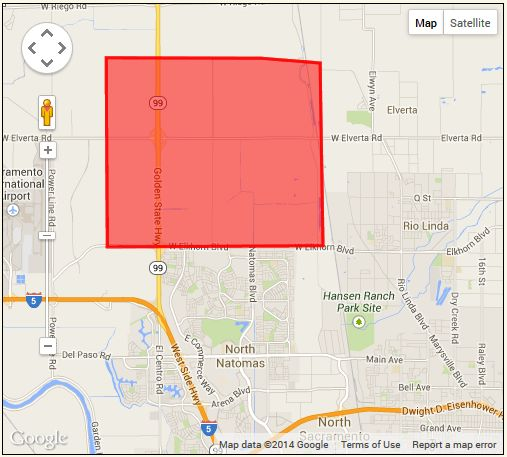 Area targeted by aerial spraying over the weekend. / Source: Sacramento-Yolo Mosquito Vector Control District website