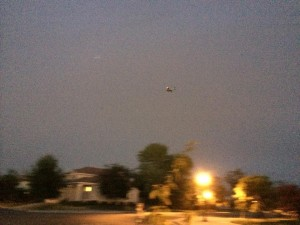 Photo posted by Beau Hause on THE NATOMAS BUZZ's Facebook page taken about 9 p.m. Sunday of the small plane making one of several passes over Macon Drive - about 3/4-mile south of Elkhorn Boulevardg.