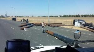 Overturned Logging Truck Closes I-5 in Natomas