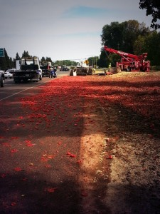 Overturned Tomato Truck Backs Up Natomas Commute