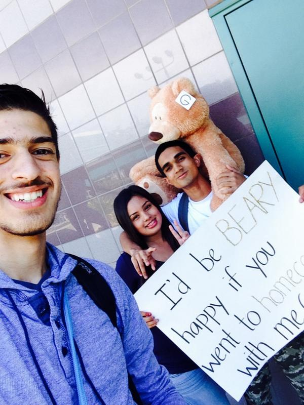 An over-sized teddy bear was used to pair this couple for the Natomas High homecoming dance.