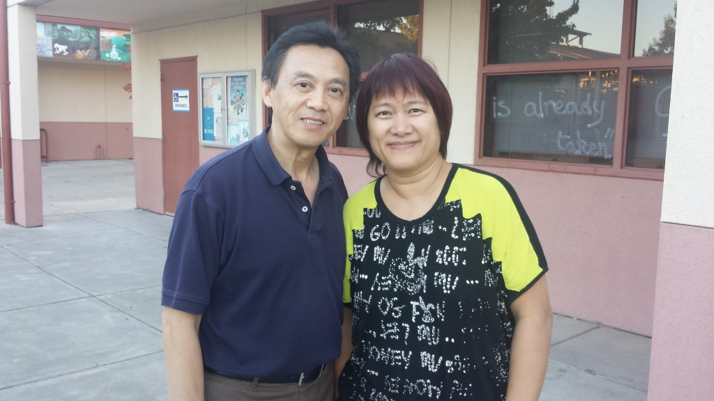 """""""I am exercising my right to vote. There were many measures on ballot that I wanted to vote on"""". Words from Brian Fong. With him is Maggie Lo."""