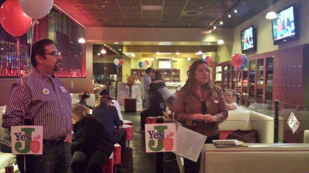 Mayor Pro Tem Angelique Ashby thanks Measure J supporters Tuesday night in Natomas. / Photo: Marc Laver