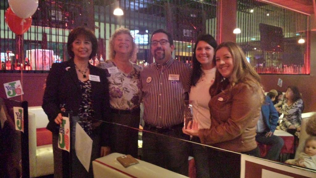 Natomas Unified school board members Sue Heredia, Teri Burns, Scott Dosick and Lisa Kaplan join Mayor Pro Tem Angelique Ashby to watch Measure J returns Tuesday night. / Photo: Marc Laver.