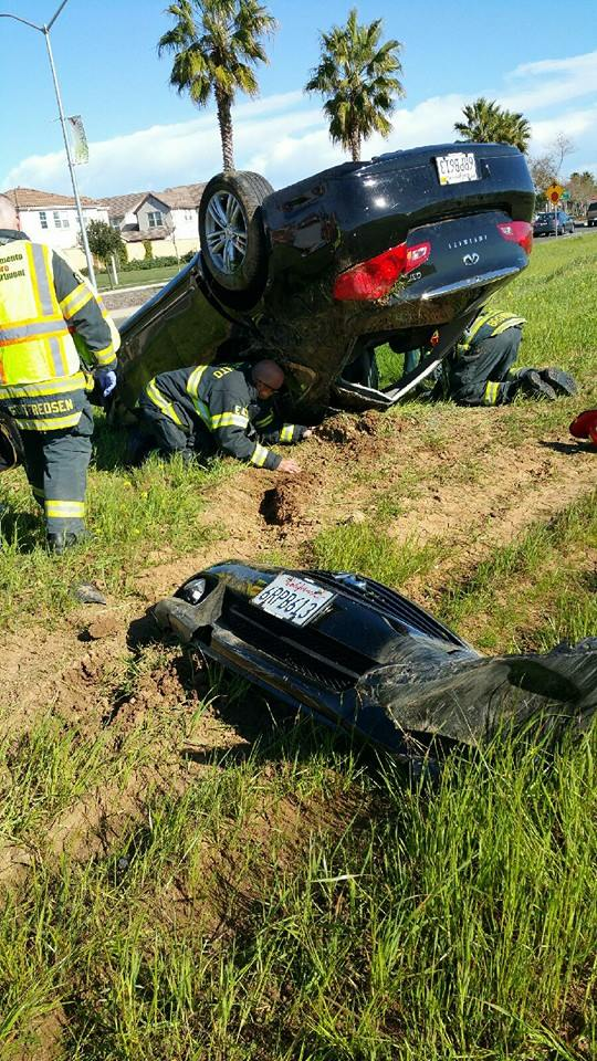 Roll-over accident March 1, 2015 on East Commerce Way. / Courtesy Photo