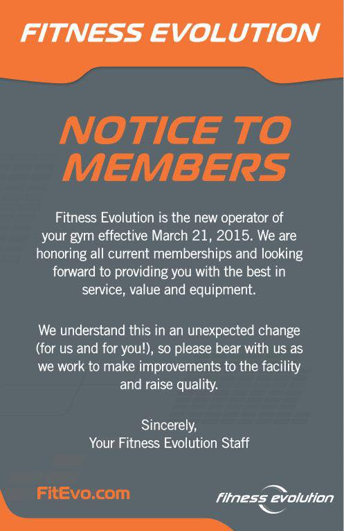 Message received via e-mail text by Max Fitness members.