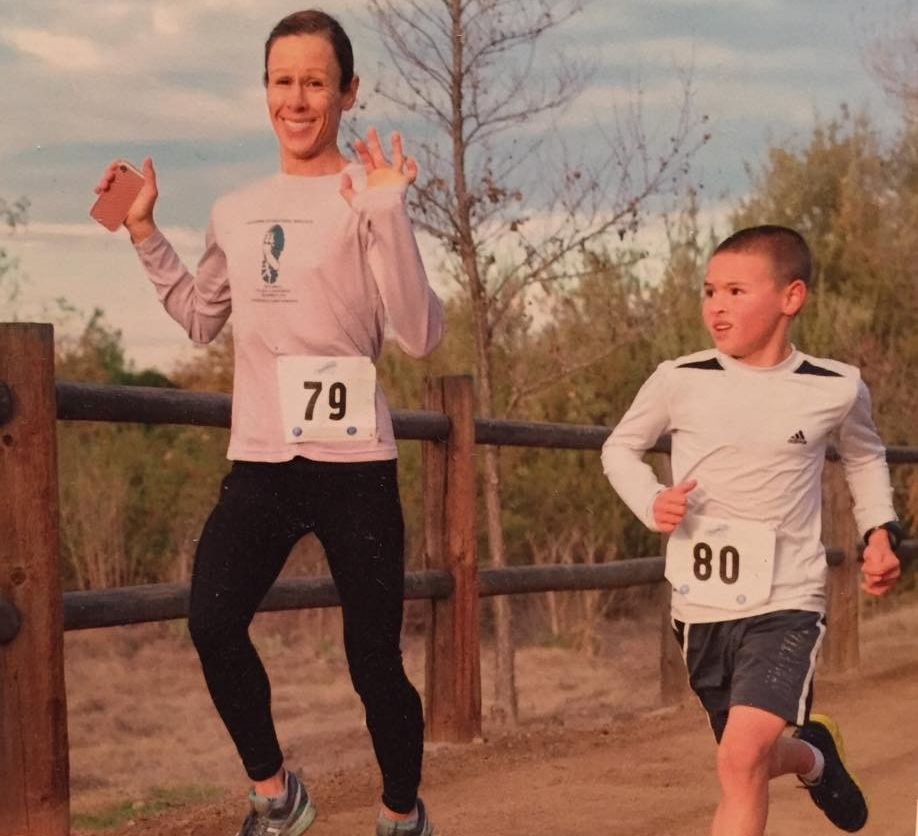 """r and I could actually stay with him the whole race (now he leaves me right at the start because I'm so """"slow""""), about a month after this picture is when I ran my Boston qualifying time at CIM! Headed to his first track meet in Reno tomorrow for the 1500 and 3000m / Courtesy Photo"""