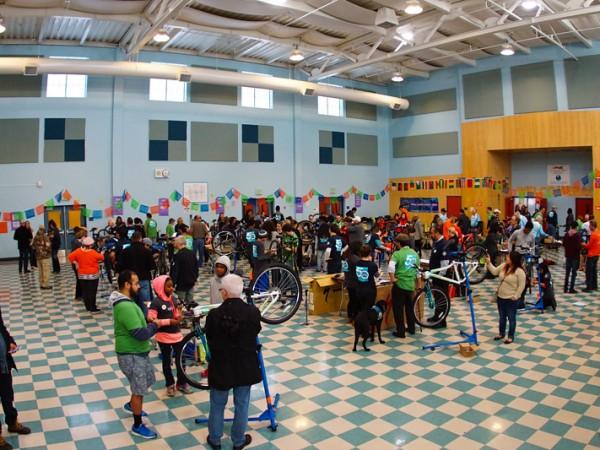 More than 200 volunteers helped build 50 bikes for 50 kids on Martin Luther King Jr. Day last week in Natomas. / Photo: Derek Novaes