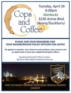 Cops & Coffee Set for Tuesday in Natomas