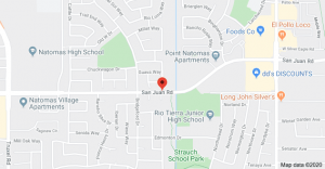 Map of location of fire at San Juan Road and Zenobia Way