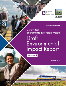 Image of cover of volume one of Valley Rail Sacramento Extension Project draft environmental impact report.