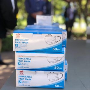 Image of three boxes of disposable masks stacked.