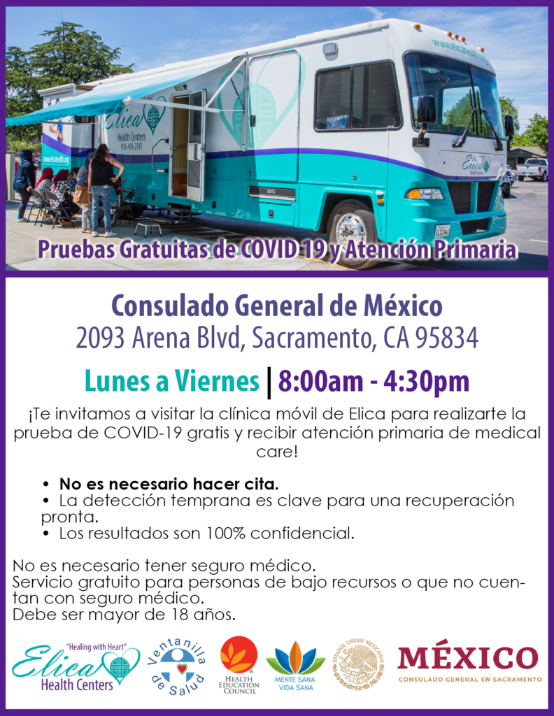 Spanish-language flyer with details about mobile clinic COVID-19 testing.
