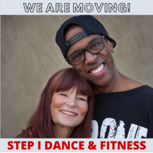 """Photo of owners Mary Wright and Pepper Von with the words """"We Are Moving!"""" above them and """"Step I Dance & Fitness"""" below them."""