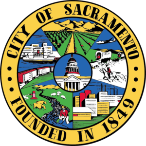 "Image of city seal with the words ""city of Sacramento founded in 1849"" circling smaller images of the capitol building."