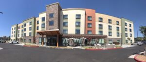 Image of front of hotel.