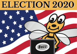 "Image of Natomas Buzz bee with words ""Election 2020."""