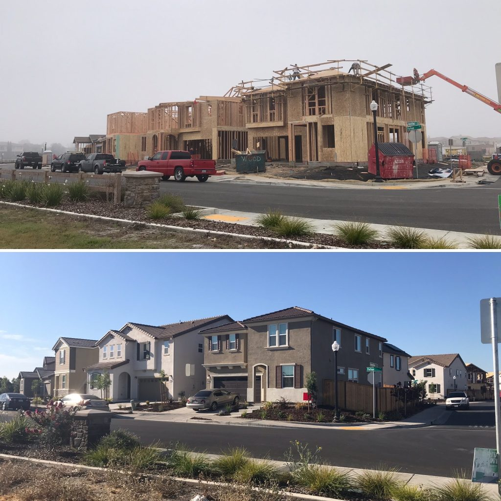 Split image of homes being built on top and finished home on bottom.