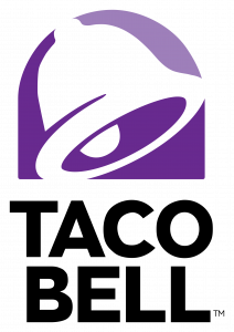 Image of purple bell silhouette with black letter underneath which reads TACO BELL.