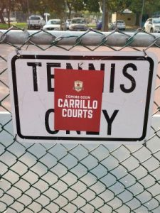 "Image of a sign which had read ""Tennis Only"" with a red sticker on top which reads ""Carrillo Courts."""