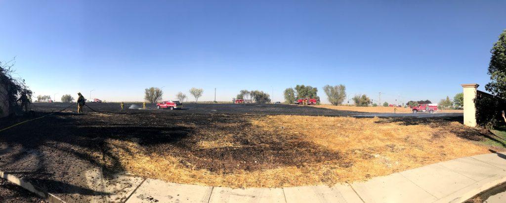 Panoramic image of burnt field.