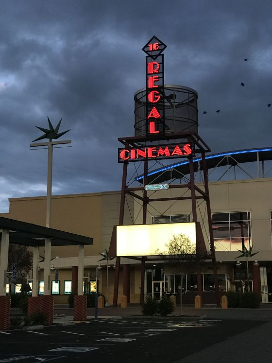 Image of Regal Cinemas marquee in Natomas with blank signag.e